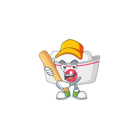 Nurse hat cartoon design concept of hold baseball stick Illustration