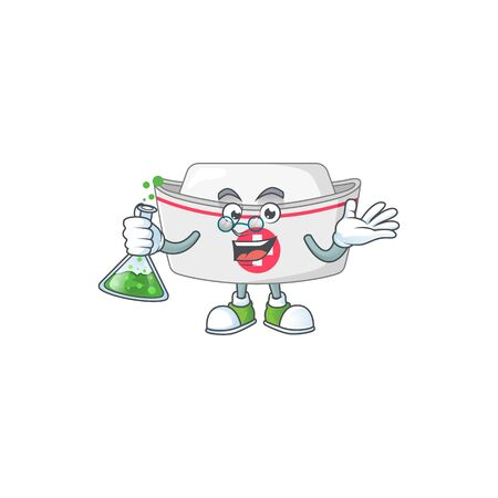Nurse hat genius Professor Cartoon character holding glass tube. Vector illustration
