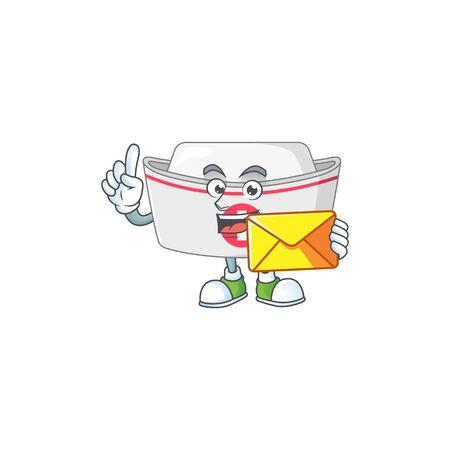 Cute face nurse hat mascot design bring brown envelope. Vector illustration