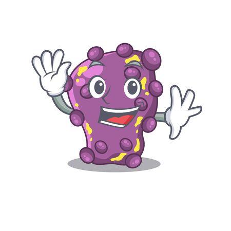 A charismatic shigella mascot design style smiling and waving hand