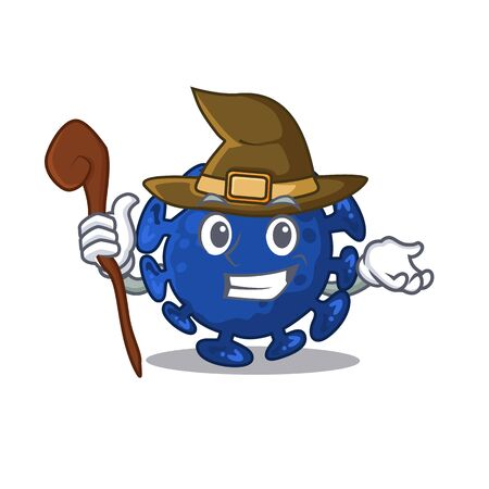 Streptococcus sneaky and tricky witch cartoon character. Vector illustration