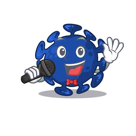 Talented singer of streptococcus cartoon character holding a microphone. Vector illustration Illustration