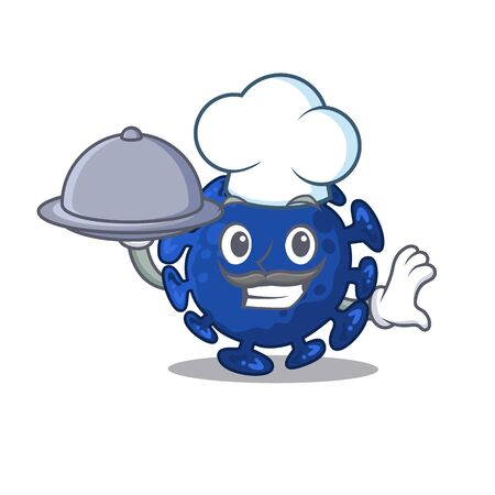 Streptococcus chef cartoon character serving food on tray. Vector illustration