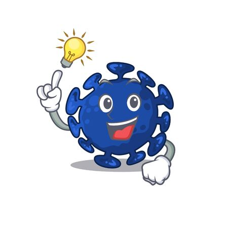 Mascot character design of streptococcus with has an idea smart gesture. Vector illustration