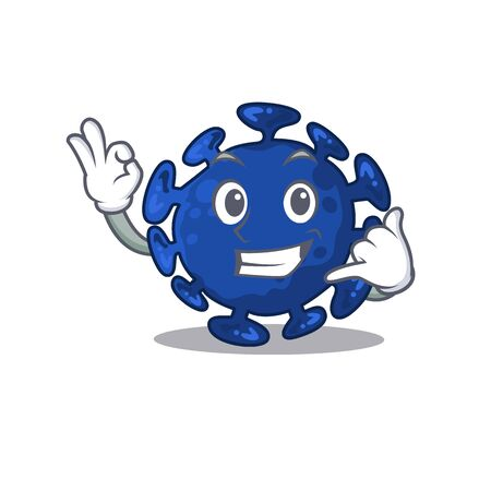 Cartoon design of streptococcus with call me funny gesture. Vector illustration
