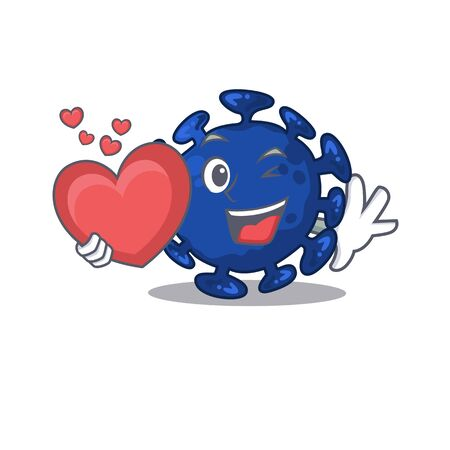 A sweet streptococcus cartoon character style with a heart. Vector illustration