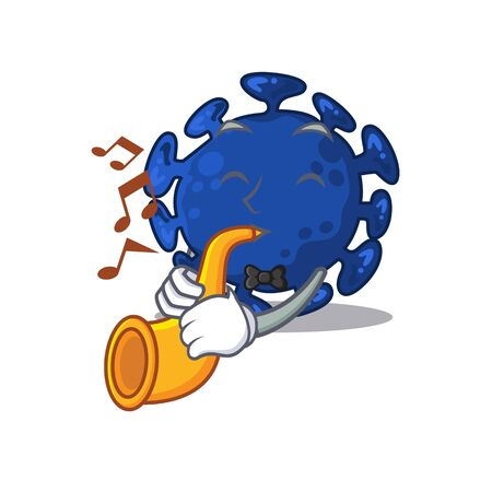 Talented musician of streptococcus cartoon design playing a trumpet. Vector illustration Illustration