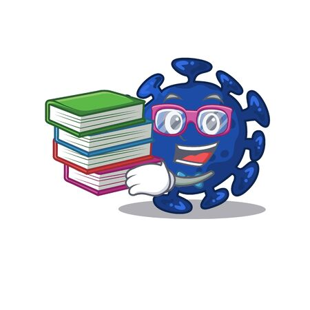 A diligent student in streptococcus mascot design concept with books. Vector illustration