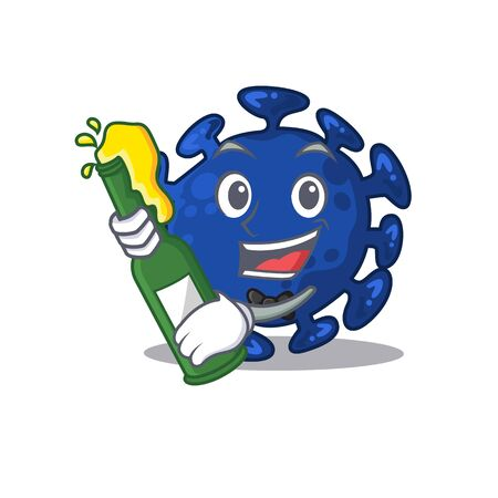 Mascot character design of streptococcus say cheers with bottle of beer. Vector illustration
