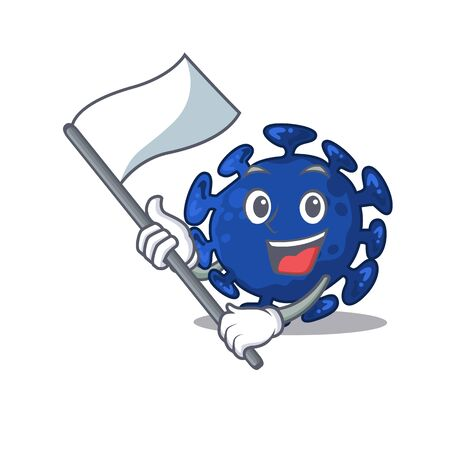 A nationalistic streptococcus mascot character design with flag. Vector illustration Illustration