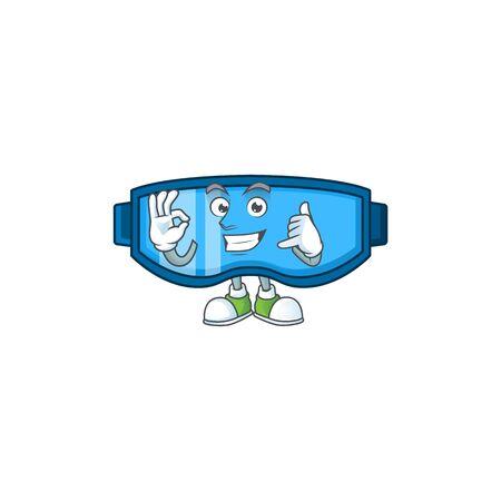 Safety glasses mascot cartoon design make a call gesture. Vector illustration