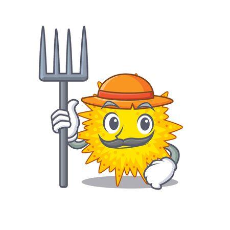 Cartoon character design of mycoplasma as a Farmer with hat and pitchfork. Vector illustration Ilustração