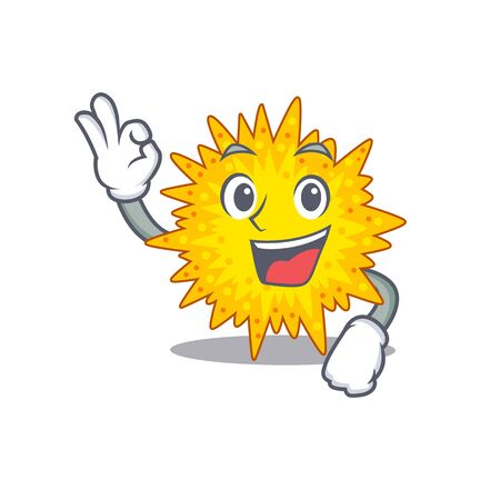 Mycoplasma mascot design style with an Okay gesture finger. Vector illustration