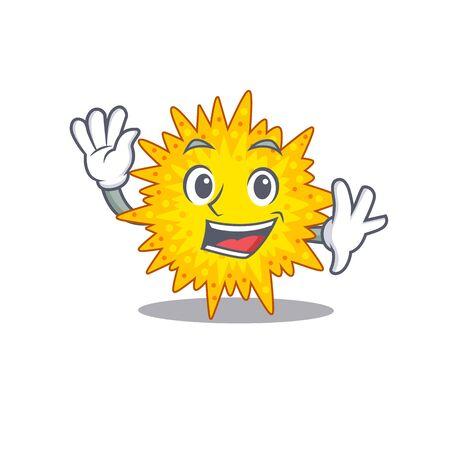 A charismatic mycoplasma mascot design style smiling and waving hand. Vector illustration Vektoros illusztráció