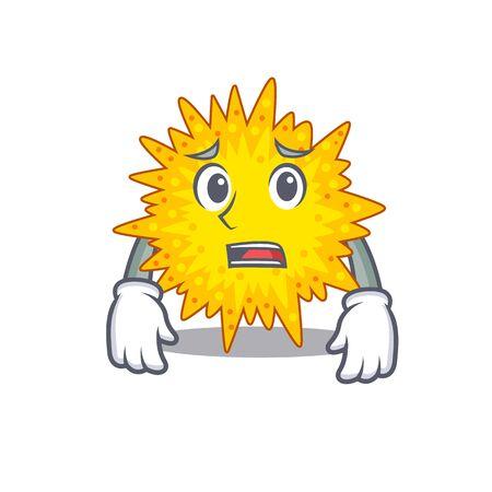 Cartoon design style of mycoplasma showing worried face. Vector illustration