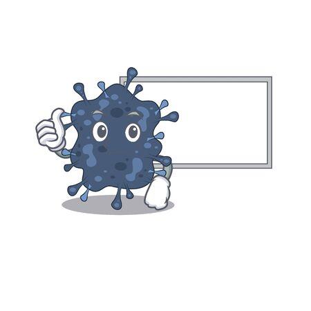 Humorous bacteria neisseria cartoon design Thumbs up bring a white board. illustration Ilustração