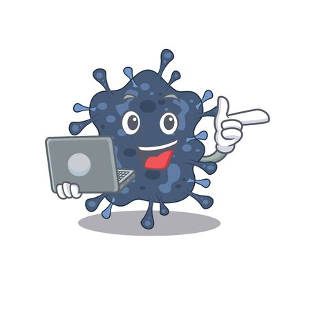 Cartoon character of bacteria neisseria clever student studying with a laptop. illustration