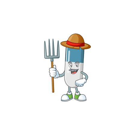 Mascot design style of Farmer vitamin pills with hat and pitchfork
