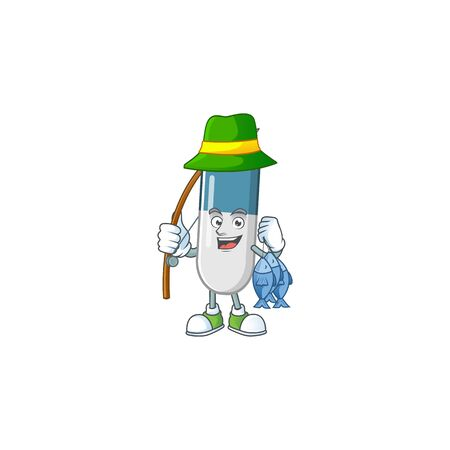 A Picture of vitamin pills fisher mascot design catch a fish