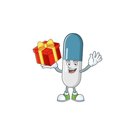 Charming vitamin pills mascot design has a red box of gift