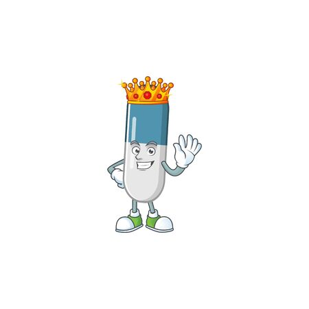 The Charismatic King of vitamin pills cartoon character design wearing gold crown Stock Illustratie