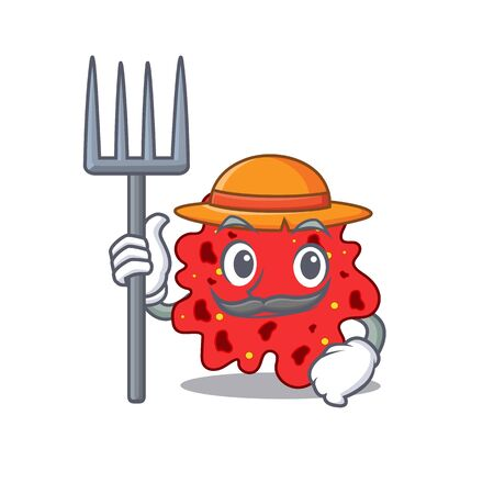 Cartoon character design of streptococcus pneumoniae as a Farmer with hat and pitchfork. illustration