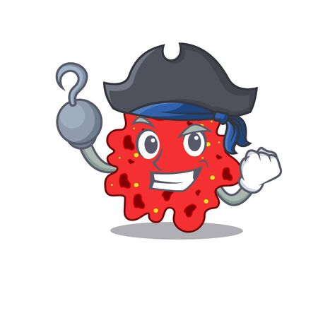 Streptococcus pneumoniae cartoon design style as a Pirate with hook hand and a hat. illustration