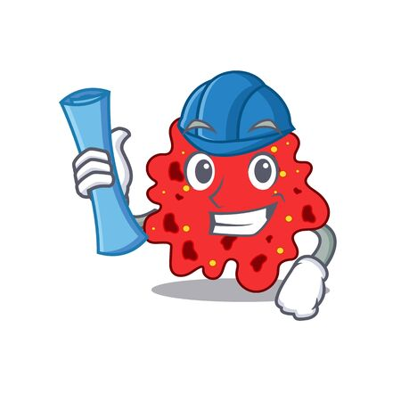 Cartoon character of streptococcus pneumoniae brainy Architect with blue prints and blue helmet. illustration