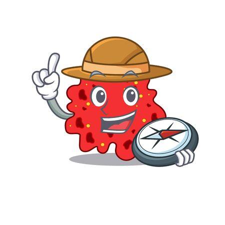 mascot design concept of streptococcus pneumoniae explorer with a compass. illustration