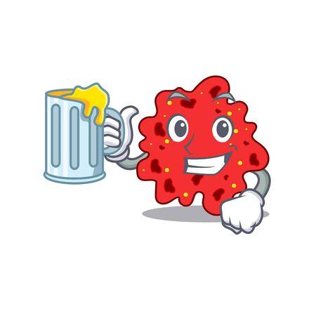 A cartoon concept of streptococcus pneumoniae rise up a glass of beer. illustration