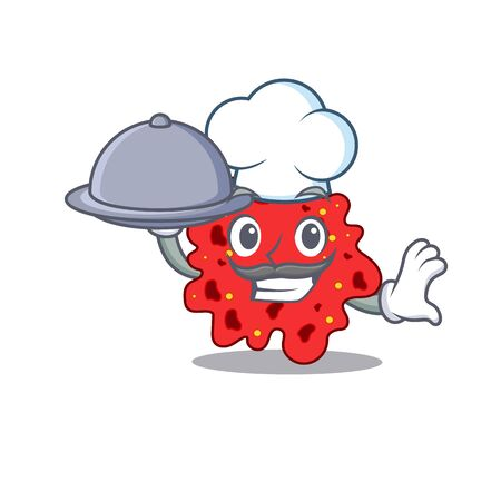 Streptococcus pneumoniae chef cartoon character serving food on tray. illustration