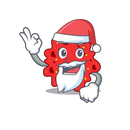 Streptococcus pneumoniae Santa cartoon character with cute ok finger
