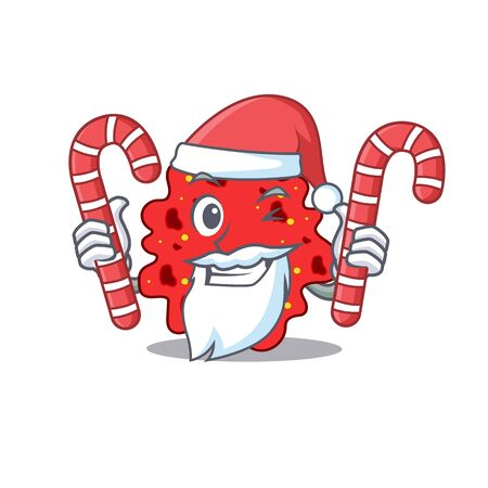 Friendly streptococcus pneumoniae in Santa Cartoon character holds Christmas candies