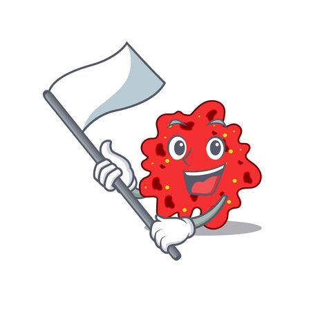 A nationalistic streptococcus pneumoniae mascot character design with flag