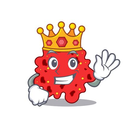 A Wise King of streptococcus pneumoniae mascot design style Illustration
