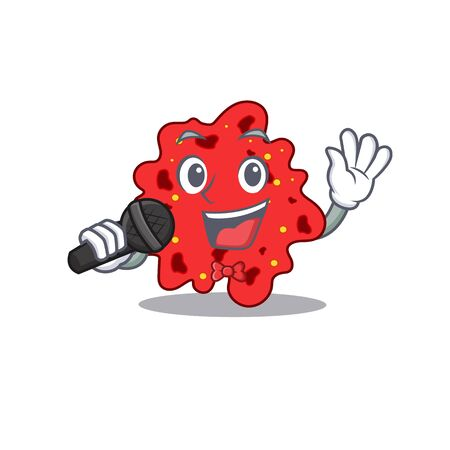 Talented singer of streptococcus pneumoniae cartoon character holding a microphone. Vector illustration