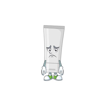 Cartoon picture of white plastic tube with worried face. Vector illustration