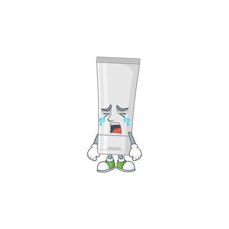 A weeping white plastic tube cartoon character concept. Vector illustration