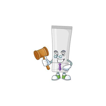 Charismatic Judge white plastic tube cartoon character design with glasses. illustration Illusztráció