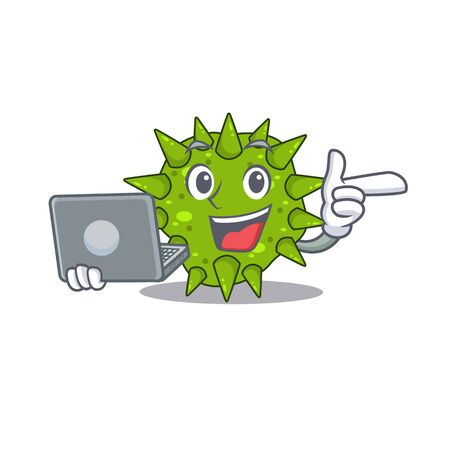 Cartoon character of vibrio cholerae clever student studying with a laptop. Vector illustration