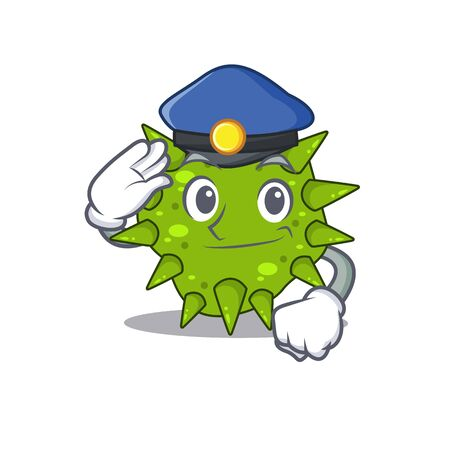 Police officer mascot design of vibrio cholerae wearing a hat. Vector illustration