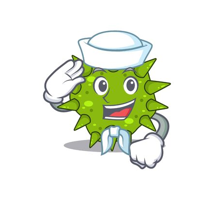 Sailor cartoon character of vibrio cholerae with white hat. Vector illustration
