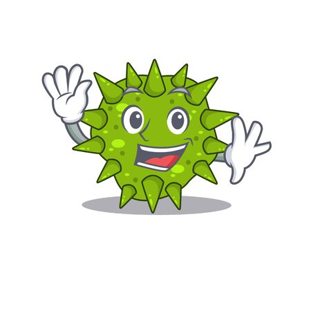 A charismatic vibrio cholerae mascot design style smiling and waving hand. Vector illustration Ilustração