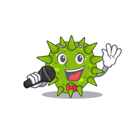 Talented singer of vibrio cholerae cartoon character holding a microphone