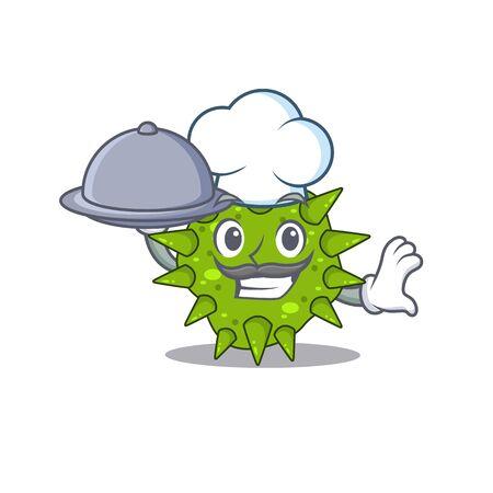 Vibrio cholerae chef cartoon character serving food on tray
