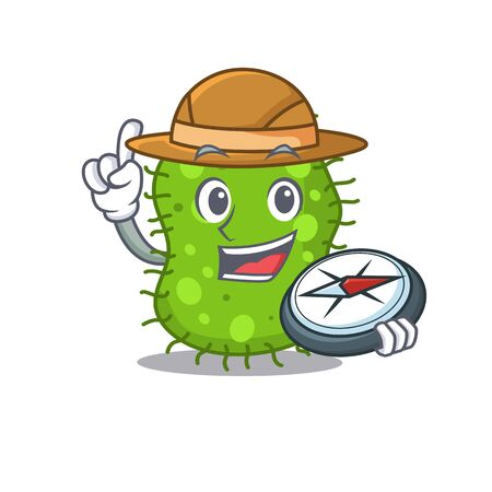 mascot design concept of escherichia explorer with a compass