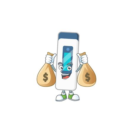 Blissful rich digital thermometer cartoon character having money bags. Vector illustration