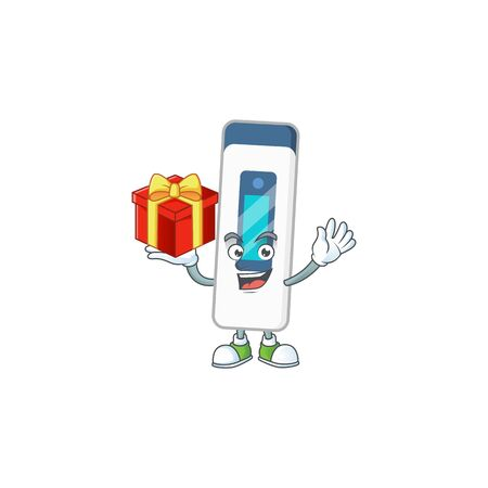 Charming digital thermometer mascot design has a red box of gift. Vector illustration