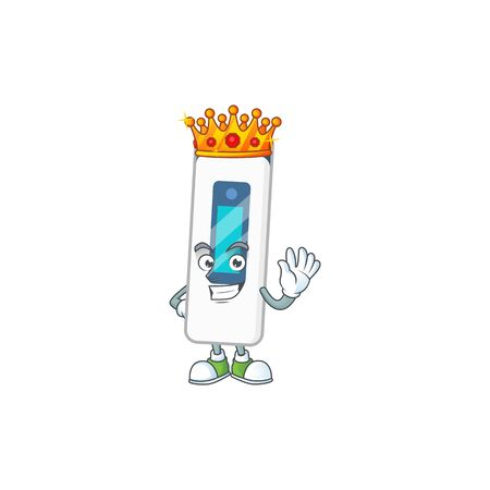 The Charismatic King of digital thermometer cartoon character design wearing gold crown. Vector illustration
