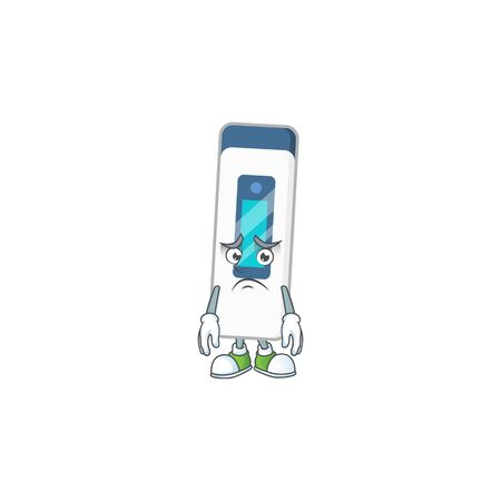 Cartoon picture of digital thermometer with worried face. Vector illustration
